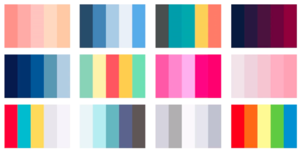 A sampling of color schemes, all based on tried-and-true formulas.
