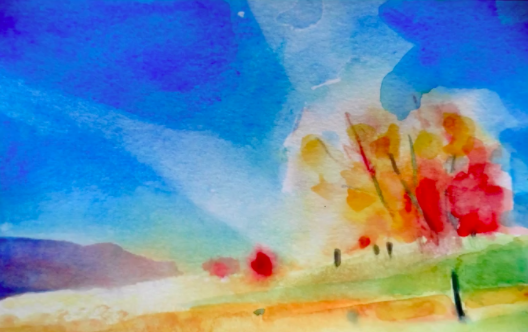 Skillshare teacher Ron Mulvey shows how complementary colors blue and orange can evoke excitement and energy in this painting.