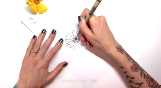 Skillshare instructor   Peggy Dean   shows her class how to draw using real flowers as a model.