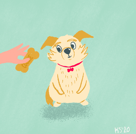 Skillshare student Katrina Snyder used simple Procreate animation techniques to create a GIF of her dog, Pixel.