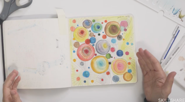 "A sample sketchbook from the Skillshare course ""Sketchbook Illustration for All: Draw Your Day with Watercolor & Pen."""