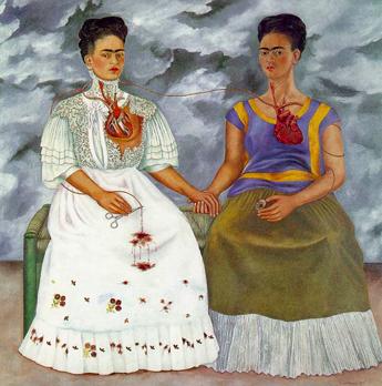 Another example of self portrait art, Frida Kahlo's  The Two Fridas  showcases Frida's two different personalities.