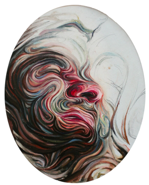 Nikos Gyftakis's self portraits use unique forms and colors to play with the element of time. |  Self portrait V, oil pastel on canvas © Nikos Gyftakis