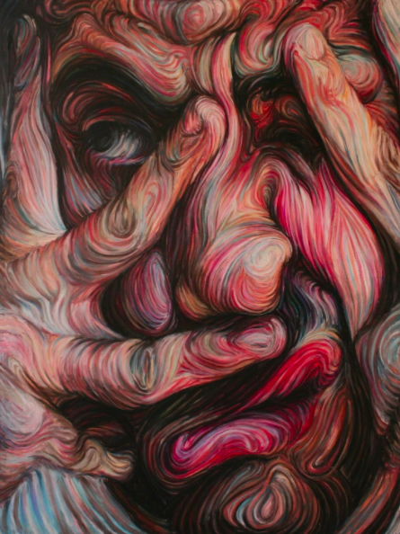 """The constant flow of colors and energy in this self portrait represents Nikos Gyftakis's psyche. 