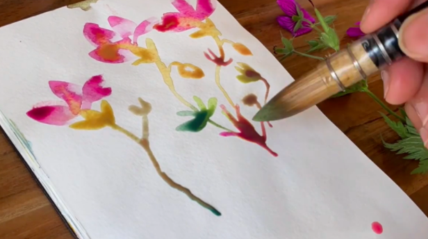Bring flowers to the page in a lovely, creative way with simple watercolor paints.