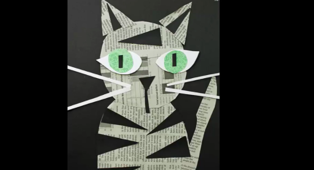 Use up some old newspaper to create adorable cat art.