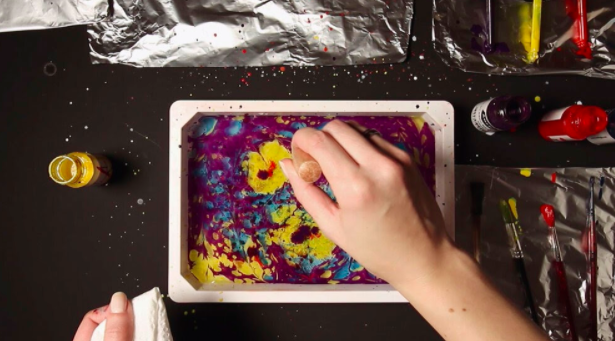Get messy and creative while learning a new style of painting—marbling.