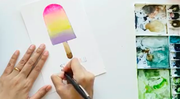 Watercolor a whimsical popsicle postcard with a sweet saying.
