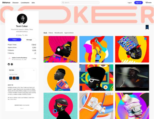 Artist   Temi Coker's   online portfolio on Behance   (  Check out his Skillshare class   on creating a portfolio using Behance!