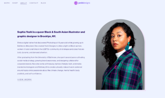 Designer   Sophia Yeshi's   short yet effective bio on her online portfolio.