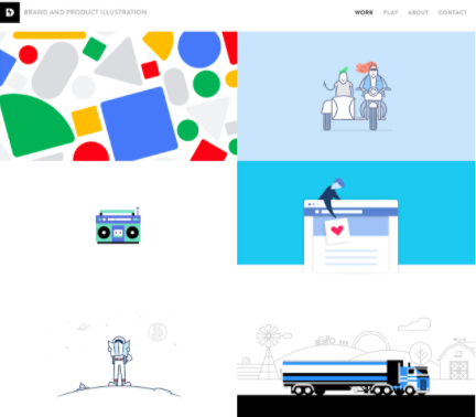 Designer and illustrator   Dominic Flask   does a great job of quickly showing off his style on his homepage, while linking to more in-depth case studies of each project.