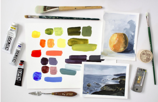 Compared to gouache, acrylic paint can be applied with a wider variety of tools, including paint brushes and palette knives.