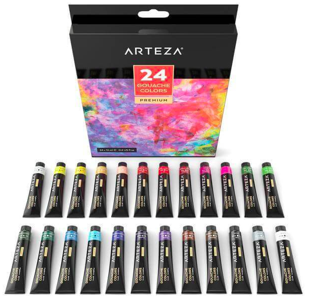 Arteza gouache paints are available in sets ranging from 12 to 60 colors, which typically include earth tones, primary colors, and even metallic shades.