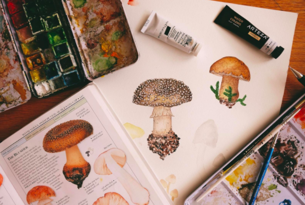 Arteza gouache paint sets typically include a good range of earth tones, which you can see highlighted in this painting of mushrooms.