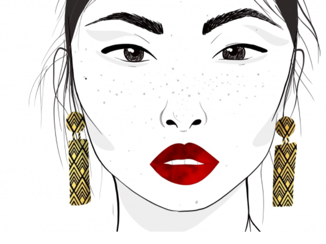 Bold lip colors can often be found in fashion facial illustrations.