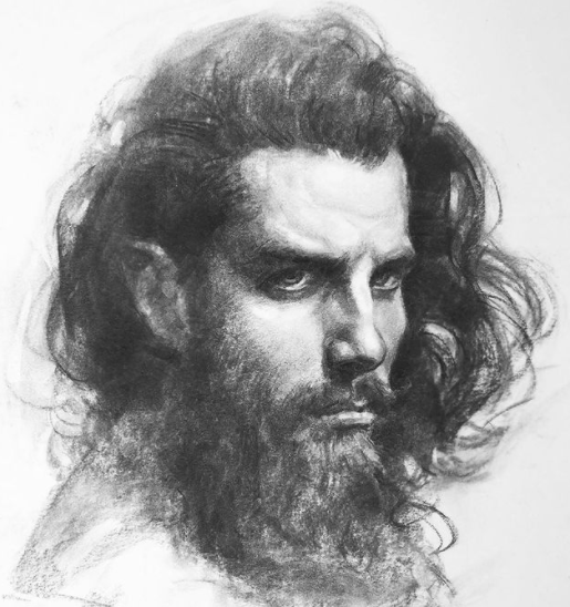 Image via  Instagram   A traditional charcoal portrait by Oliver Sin.