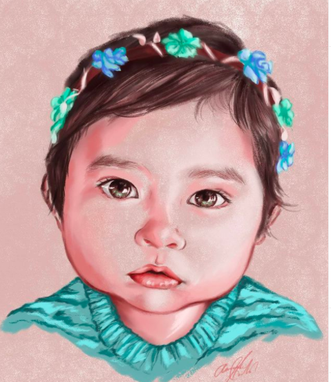 Image via  Instagram   A charcoal portrait of a young child by Amanda Juliann.