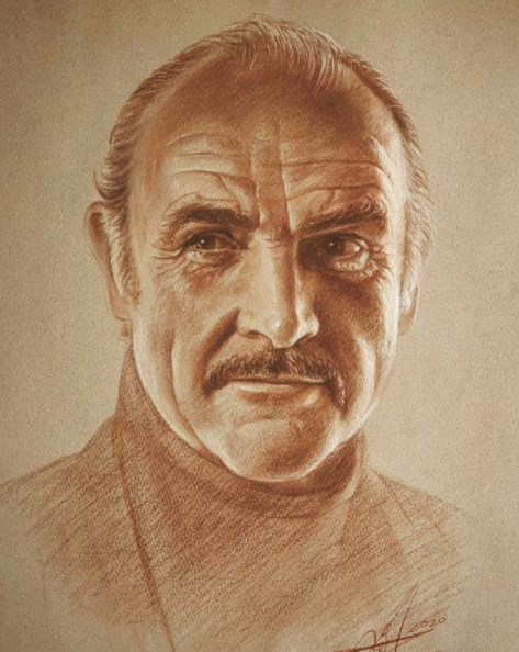 Image via  Instagram   A portrait of actor Sean Connery by Mr. Broken Brush.