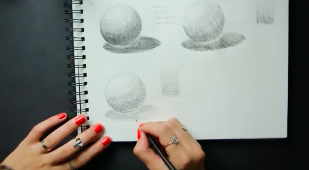 Skillshare teacher Alexandra Gábor demonstrates how to use the pencil drawing techniques of hatching (top right) and cross-hatching (bottom left) to create light and shade.