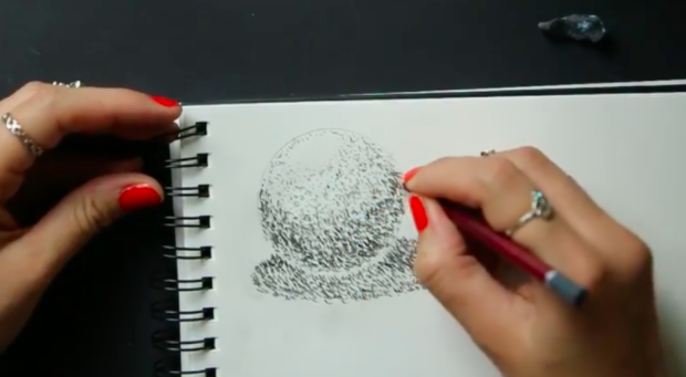 When stippling, positioning more dots closer together can create the appearance of a shadow.