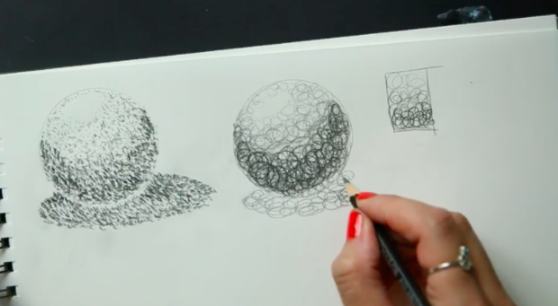 The pencil drawing technique demonstrated here is referred to as scribbling, or circulism—a series of random marks to generate dark or shadowed areas or a drawing.