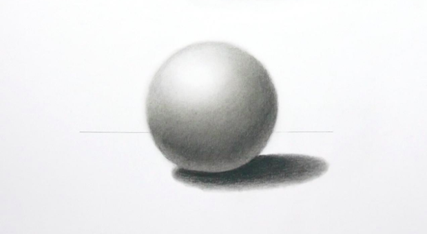 Seemingly simple, this drawing of a sphere requires the techniques of shading and blending.