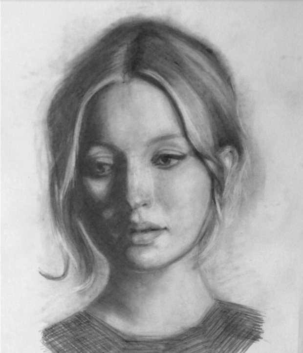 This portrait incorporates several pencil drawing techniques, including cross-hatching and smudging.