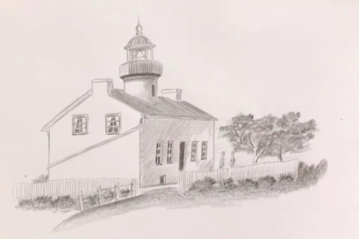 Emma Smith's Skillshare course teaches perspective with this simple lighthouse drawing.