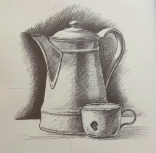 A coffee pot and cup pair makes an excellent still life subject.