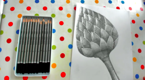 Different pencil weights help bring sophisticated texture to this easy drawing of an artichoke.