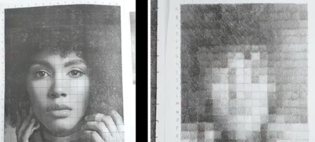 Even beginners can draw portraits using this abstract pixelated drawing technique.