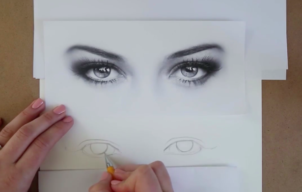 Use negative space to inform the placement and size of your irises.