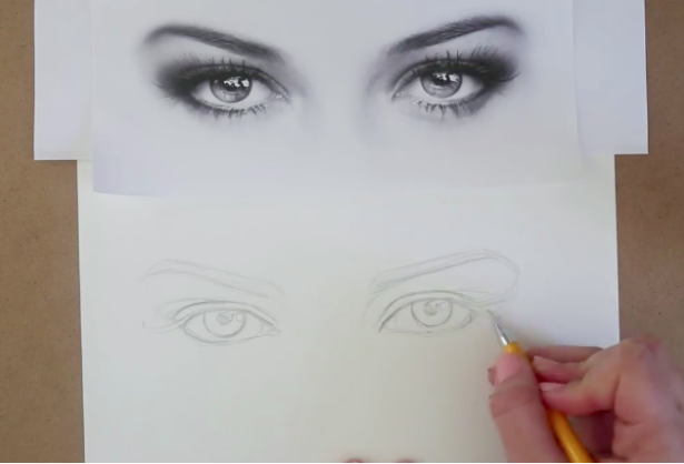 Draw eyelashes and pupils to complete your eye drawing outline.