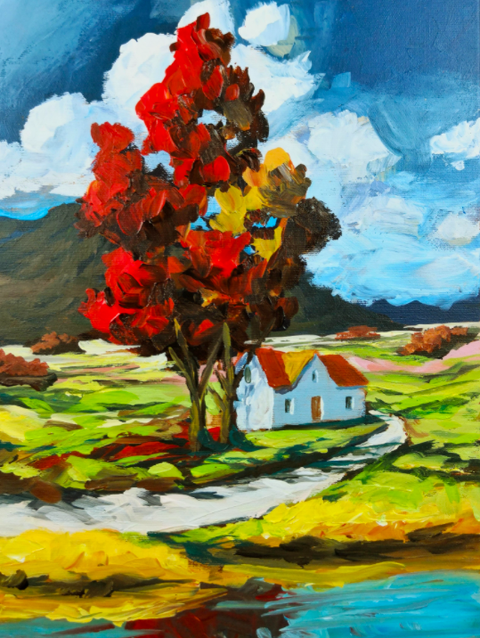 See how the artist layers oil paint to create texture.