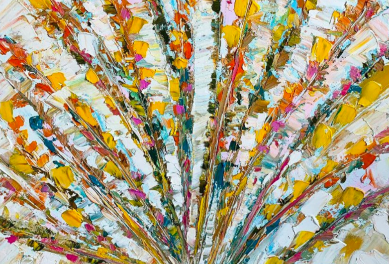 Floral paintings don't have to be life-like to be beautiful.