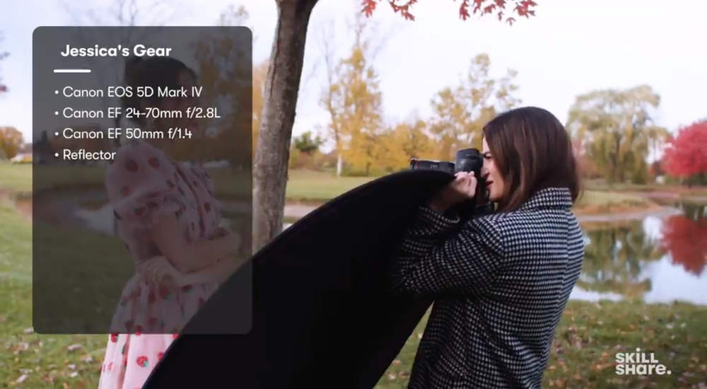 Skillshare instructor and photographer Jessica Kobeissi shoots a model using a reflector.