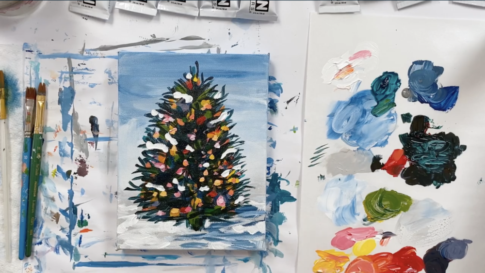 This festive Christmas tree is a great canvas painting project!