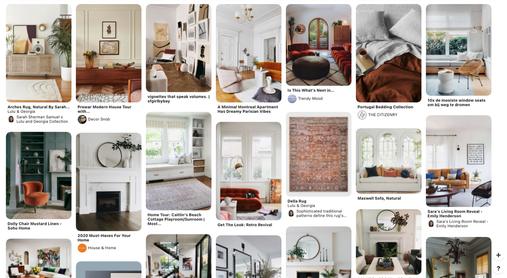 Collection of images for Arlyn Hernandez's living room mood board.