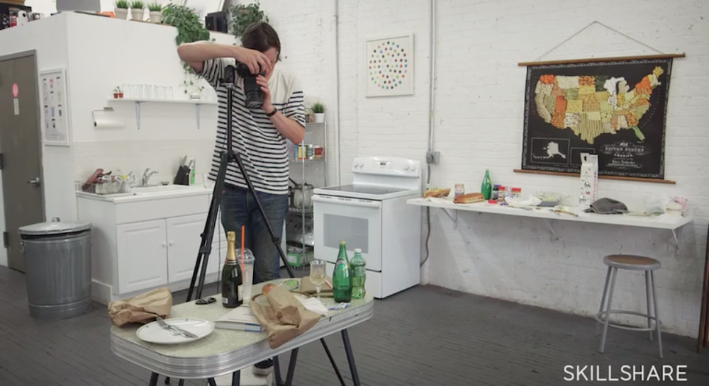 Skillshare instructor and photographer Henry Hargreaves shoots food photography using a tripod.