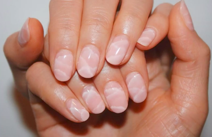 Rose quartz nails are meant to resemble the natural stone.