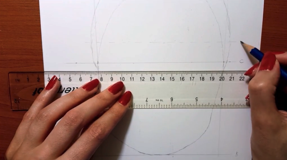 Drawing additional guidelines helps to make sure your features are in the right places.