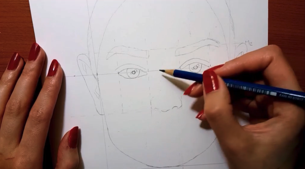 Guidelines in the middle of the face help you to map out the eyes, nose, and mouth.