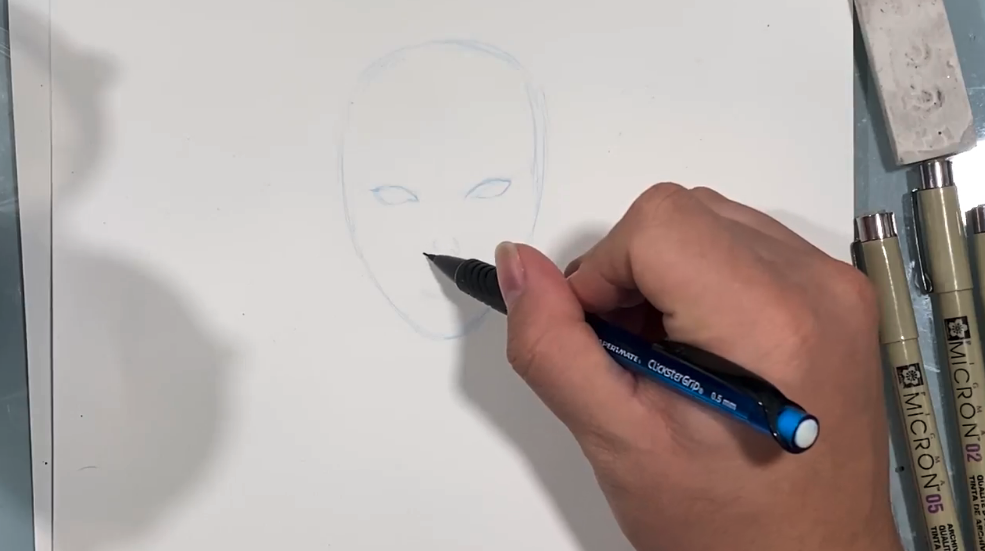 Most face drawings begin with the oval outline. This gives you a good base to work from.
