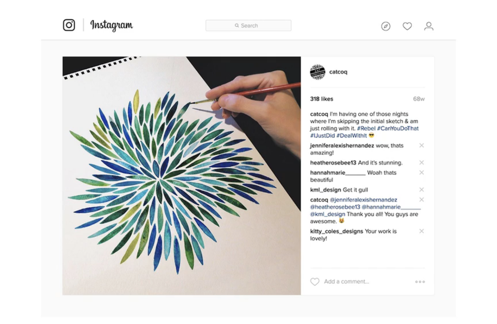 Commercial illustrator Cat Coquillette shares her process on Instagram before uploading the final work on her website and online shop.