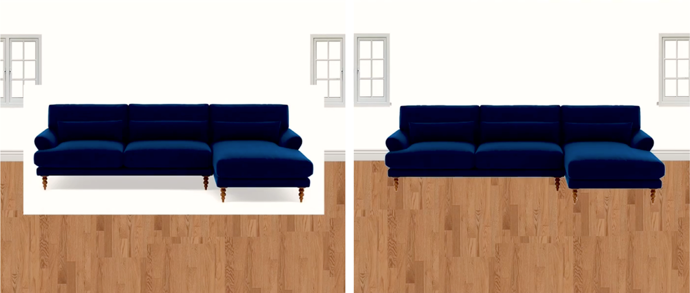 Removing the background from the couch makes it easier to see how it fits into the rest of the space.