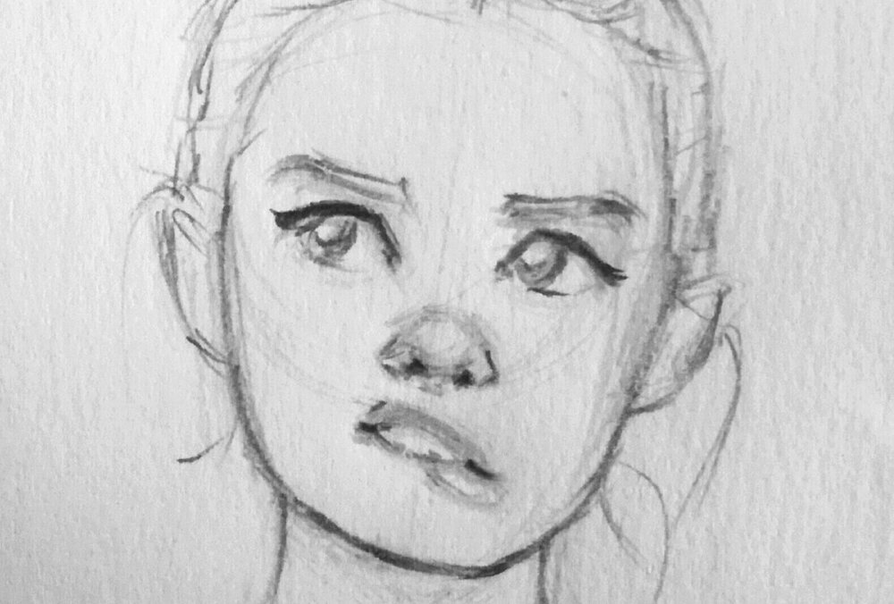easy things to draw: Female character portrait drawing by Tash V.