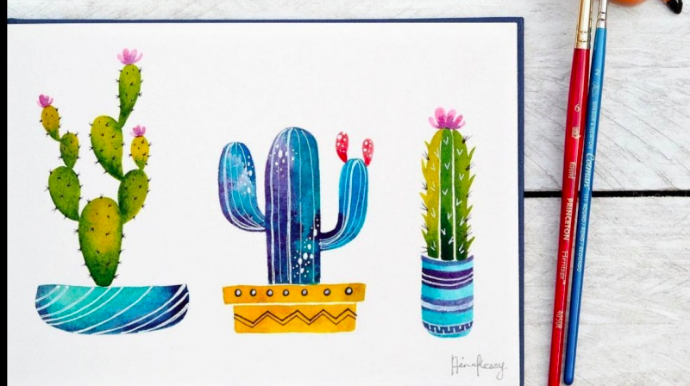 Paint simple watercolor cacti in three color themes with  Aima.