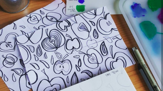 Design repeating patterns using paper, pen, and Photoshop/Illustrator with  Alexandra .
