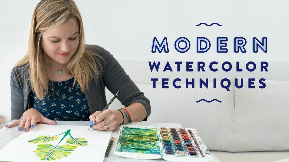 WATERCOLORS:   Modern Watercolor Techniques: Explore Skills to Create On-Brand Paintings  covers trends like ombré gradients and metallic textures.