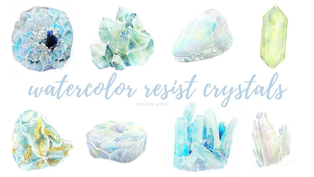WATERCOLORS:   Painting Watercolor Resist Crystals  combines an interesting skill (wet on wet resist) with uncommon subjects like amethysts and opals.